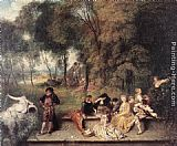 Jean-Antoine Watteau Merry Company in the open air painting
