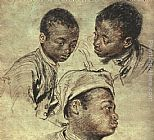 Jean-Antoine Watteau Three studies of a boy painting