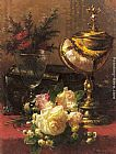 a magnolia on red velvet Paintings - A Bouquet of Roses and other Flowers in a Glass Goblet with a Chinese Lacquer Box and a Nautilus Cup on a red Velvet draped Table