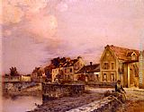 Jean-Charles Cazin Figures At The Village Pond, Sunset painting
