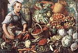 Joachim Beuckelaer Market Woman with Fruit, Vegetables and Poultry painting
