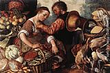 Joachim Beuckelaer Woman Selling Vegetables painting