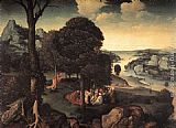 Joachim Patenier Landscape with St John the Baptist Preaching painting
