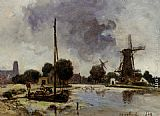 Johan Barthold Jongkind A Sailboat Moored on the Bank of a Stream painting