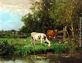 Johan Frederik Cornelis Scherrewitz Cows Watering In A Meadow painting
