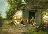 Johan Frederik Cornelis Scherrewitz Farmer and Cattle by a Stable painting
