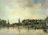 Johan Hendrik Van Mastenbroek A Townview with Moored Vessels along a Quay painting