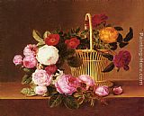 Johan Laurentz Jensen A Basket Of Roses On A Ledge painting
