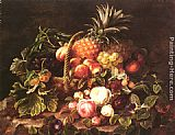 Johan Laurentz Jensen A Still Life Of A Basket Of Fruit And Roses painting