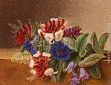 Johan Laurentz Jensen A Still Life with Honeysuckle, Blue Cornflowers and Bluebells on a Marble Ledge painting