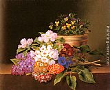 Johan Laurentz Jensen Apple Blossoms, Lilac, Violas, Cornflowers and Primroses on a Ledge painting
