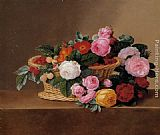 Johan Laurentz Jensen Basket of Roses painting