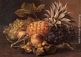 Johan Laurentz Jensen Grapes, a Pineapple, Peaches and Hazelnuts in a Basket painting