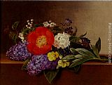 Johan Laurentz Jensen Lilacs, Violets, Pansies, Hawthorn Cuttings, And Peonies On A Marble Ledge painting