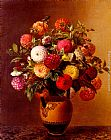Johan Laurentz Jensen Still Life of Dahlias in a Vase painting