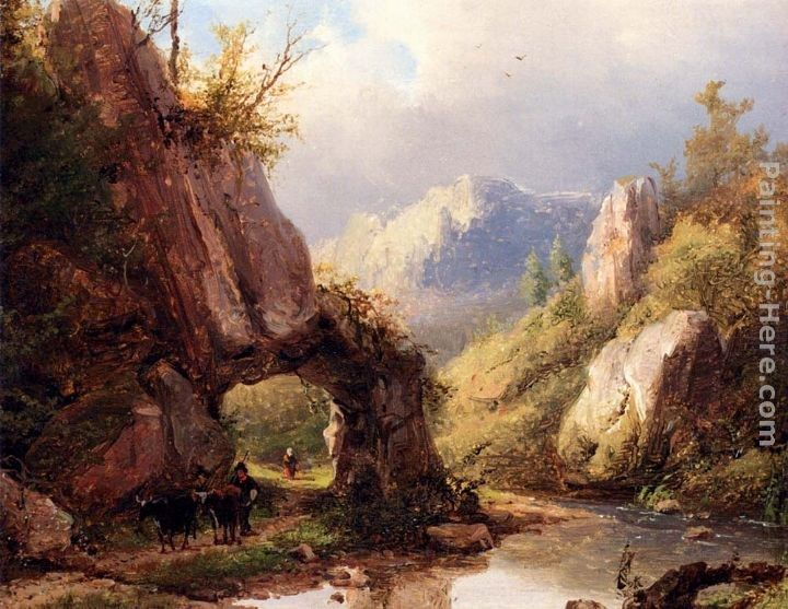 Johann Bernard Klombeck A Mountain Valley With A Peasant And Cattle Passing Along A Stream
