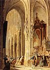 Johannes Bosboom A Church Interior With People Attending Mass painting