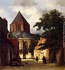 Johannes Bosboom Figures In The Streets Of A Dutch Town, A Church In The Background painting