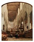 Johannes Bosboom Worshippers In The Central Aisle Of The Pieterskerk, Leyden painting