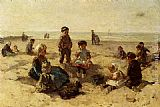 Johannes Evert Akkeringa Children Playing On The Beach painting