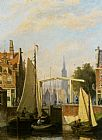 Johannes Frederik Hulk Boats on a Canal in a Dutch Town painting