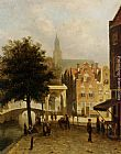 Johannes Frederik Hulk Villagers in the Streets of a Dutch Town painting