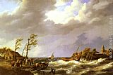Johannes Hermanus Koekkoek Dutch Fishing Vessel caught on a Lee Shore with Villagers and a Rescue Boat in the foreground painting