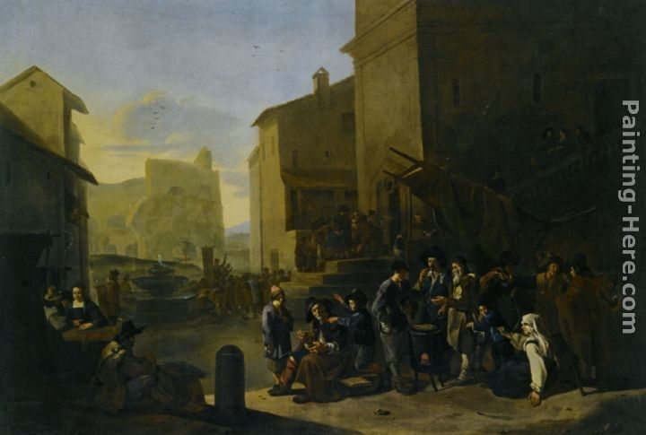 Johannes Lingelbach A Roman Market Scene with Peasants Gathered around a Stove