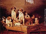 John Emms Foxhounds and Terriers in a Kennel painting