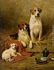 John Emms Foxhounds and a Terrier painting