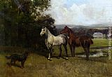 John Emms The Colonels Horses and Collie painting