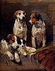 John Emms Three Hounds With A Terrier painting
