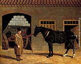 John Frederick Herring Snr A Cart Horse And Driver Outside A Stable painting