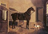 John Frederick Herring Snr A Favorite Coach Horse and Dog in a Stable painting
