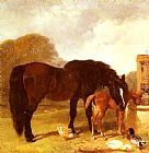 John Frederick Herring Snr Horse and Foal watering at a trough painting