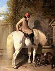 John Frederick Herring Snr Refreshment, A Boy Watering His Grey Pony painting