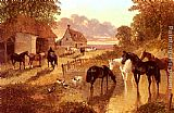 John Frederick Herring Snr The Evening Hour - Horses And Cattle By A Stream At Sunset painting