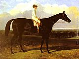 John Frederick Herring Snr a drak bay Race Horse, at Goodwood, T. Ryder up painting