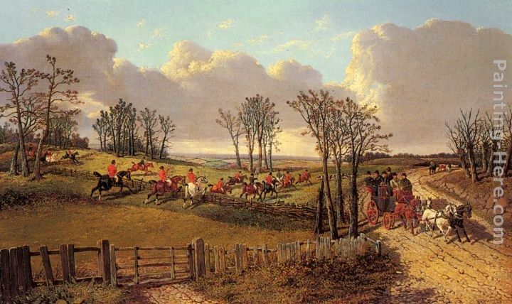 John Frederick Herring, Jnr A Hunting Scene with a Coach and Four on the Open Road