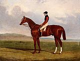 John Frederick Herring, Jnr Elis, A Chestnut Racehorse With John Day Up Waering The Colours Of Lord Lichfield, A Racehorse Beynd painting