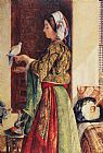 John Frederick Lewis Girl with Two Caged Doves painting