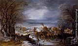 Joos De Momper A Winter Landscape With The Flight Into Egypt painting