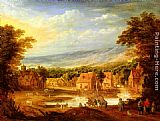 Joos De Momper An extensive river landscape with travellers approaching a village painting