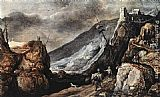 Joos De Momper Landscape with the Temptation of Christ painting
