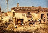 Jose Benlliure y Gil A Spanish Farm painting