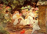 Jose Villegas y Cordero Ladies In A Garden painting