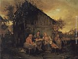 Josef Danhauser A Family Resting At Sunset painting