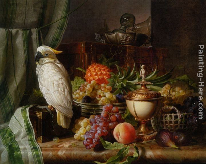 Josef Schuster A Cockatoo Grapes Figs Plums a Pineapple and a Peach