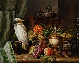 Josef Schuster A Cockatoo Grapes Figs Plums a Pineapple and a Peach painting