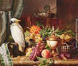 Josef Schuster Still Life With Fruit and a Cockatoo painting